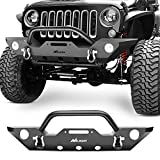 2014 jeep wrangler bumper - Nilight Front Bumper Compatible for 07-18 Jeep Wrangler JK Rock Crawler Off Roadwith With Fog Lights Hole, Winch Plate & 2 x D-rings, Upgraded Textured Black,2 years Warranty