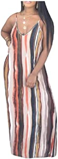 neveraway Womens Multicolor Striped Printed V Neck Big Swing Halter Dress with Pockets