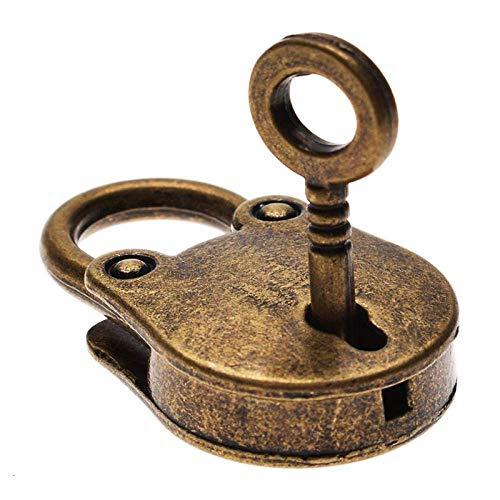 Zoharm Caliente chino Vintage Candado de estilo antiguo con cerradura de equipaje para portátil, cinturón de bronce antiguo chapado en bronce antiguo candado con llave de maleta cerraduras de hardware