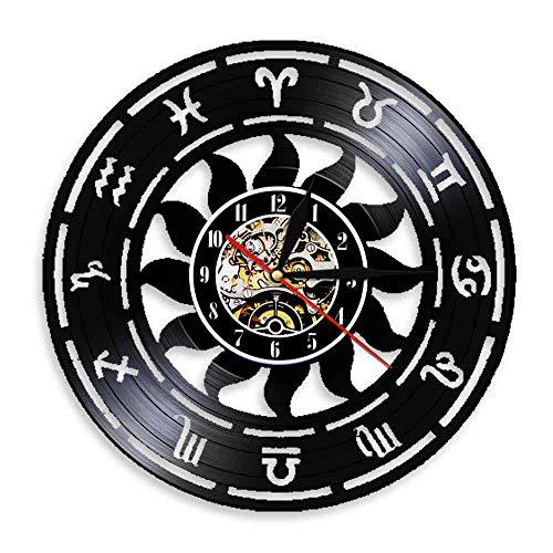 Enofvd Reloj de decoración de Arte de Pared del Zodiaco Reloj de Pared de Tiempo de astronomía Reloj de Pared de diseño de Vinilo Reloj de Pared Decoración del hogar 12 Pulgadas
