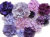 YYCRAFT 15 x lila/lavendelfarbene Chiffon-Haarblumen für Mädchen, Haarband, Baby-Blumen,...