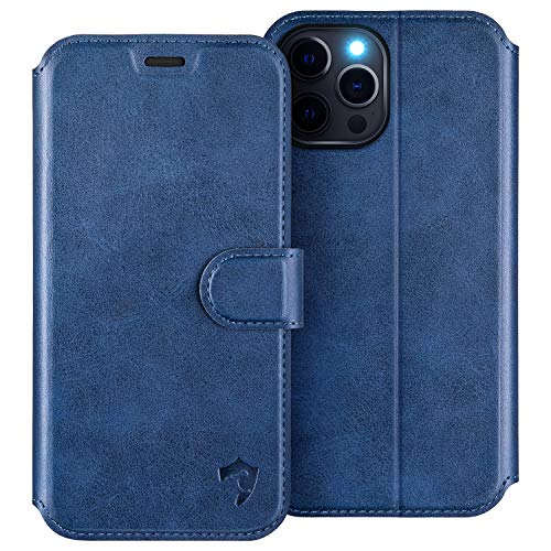 HIPPOX Cover iPhone 12 PRO Max, Custodia iPhone 12 PRO Max Interno TPU Antiurto Portafoglio [Supporto Stand] [Carta Fessura] Custodia di Pelle per iPhone 12 PRO Max (6,7 Pollici) - Blu