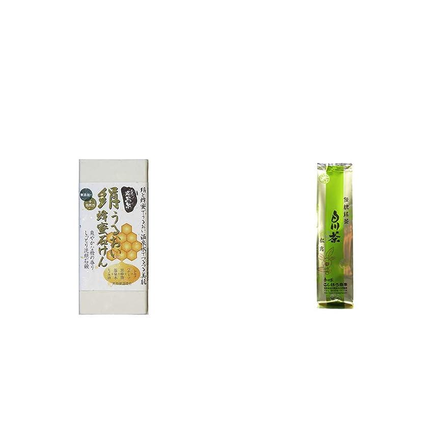 フェミニン富適度に[2点セット] ひのき炭黒泉 絹うるおい蜂蜜石けん(75g×2)?白川茶 伝統銘茶【松露】(180g)