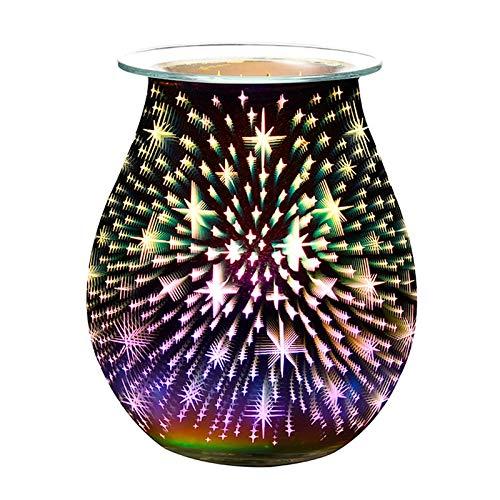 Suading 3D Firework Star - Calentador eléctrico de cera para derretir velas quemador de cera para tartas, calentador de aceite Frangrance, enchufe británico