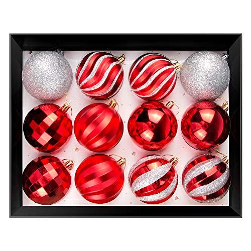 OZAVO Weihnachtskugeln 12pcs, Christbaumkugeln Sets 3.1 Zoll / 8cm, Weihnachtsdeko WeihnachtsSocken, Weihnachtshut, Rot, Weiß, Silber, für Weihnachten Dekoration, Weihnachtsbaum mit Anhänger Geschenke