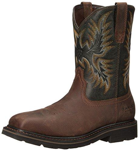 Ariat Men's Sierra Wide Square Steel Toe Work Boot, Dark Brown/ Pine Green, 10 D US