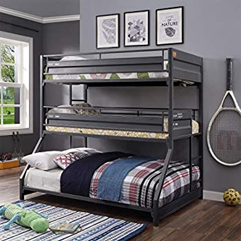 Twin Over Twin Over Full Bunk Bed HABITRIO Gunmetal Finish Metal Structure Triple Bunkbed w/ Full-length Guardrail 2 Side Ladders No Box Spring Needed Space-Saving Furniture for Kids Teens Bedroom