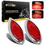 2PCS Red 35 LED Chrome Tear Drop Truck Trailer Stop Turn Brake Tail Lights Sealed w/High Low Brightness