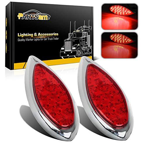 Partsam 2Pcs Red 35 LED Chrome Tear Drop Tail Lights Truck Trailer Hot Rod Stop Turn Brake Tail Lights Sealed w/High Low Brightness, Red Teardrop Tail Lights