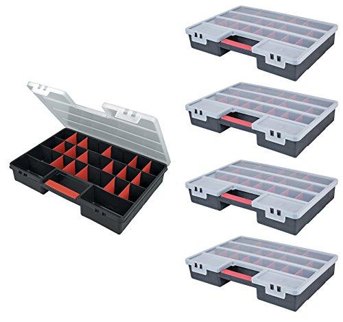 BigDean 5 Stück XXL Sortimentskasten 46 x 32 x 8 cm 5-26 Fächer Organizer Kleinteilemagazin...