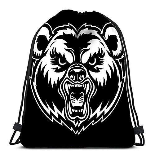 Tunnelzug Gymsack,Gym Sack,Sportbeutel Kordelzug,Rucksack Für Sport,Bear Face Athletic Pull String Bag Für Reisende Schule Shopping Yoga
