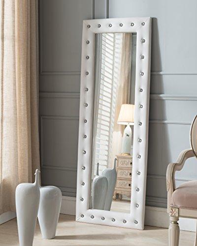 Kings Brand Furniture - Modern Upholstered Tufted Standing Floor Mirror, White