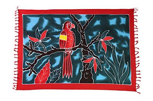 Ciffre Sarong Pareo Wickelrock Strandtuch Tuch Schal Wickelkleid Strandkleid Blickdicht Tahiti - Papagei Rot
