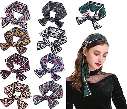 FYLuoke Headband Satin Silk Headwrap Bandana Head Hair Scarf for Women Handbag Handle Wrap Ribbon Hair Accessory (Leopard)