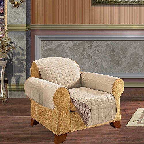 Elegant Comfort Reversible Quilted Furniture Protector- Special Treatment Microfiber As Soft as Egyptian Cotton, Natural Chair