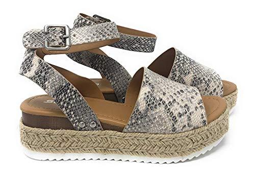 SODA Casual Espadrilles Trim Rubber Sole Flatform Studded Wedge Buckle Ankle Strap Open Toe Sandal (8 M US, Beige/Python)