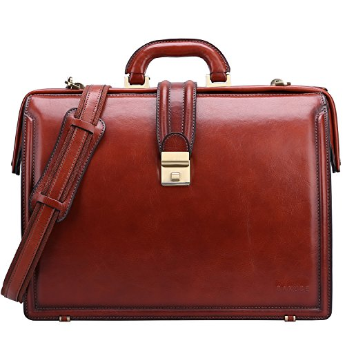 Banuce Lawyer Briefcases for Men Full Grains Italian Leather Doctors Bag Lock 15 Inch Laptop Attache Case Business Legal Attorney Litigation Bag