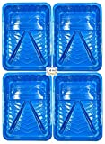 BRUFER 47150 4-Pack of Hard Plastic Economy Disposable Paint Trays for 9' Paint Rollers - Bulk Pack of 4 Paint...