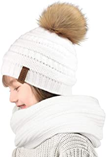 Baby Winter Knit Beanie Hats and Scarf Set Faux Fur Pom Pom Hat Bobble Ski Cap for Girls Boys(1-5 Years)