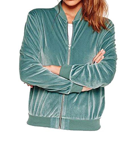 XQS Women's Short Comfy Jackets Full-Zip Petite Outerwear Blue US M