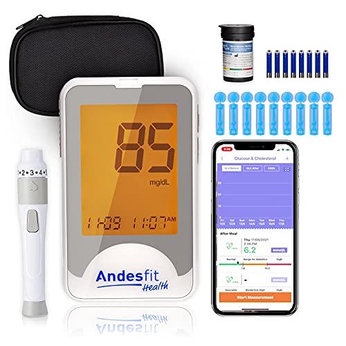 Andesfit health Diabetes Testing Kit -Wireless Bluetooth Blood Glucose Monitors -Free APP...