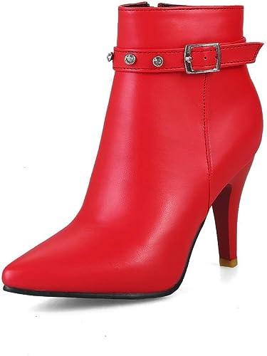 ZHRUI botas para mujer - Stiletto Fashion botas Romanas Americanas y Americanas botas Calientes con Cremallera Lateral   33-43 (Color   rojo, tamaño   43)