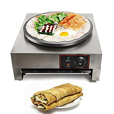 """16"""" Commercial Electric Crepe Maker Professional Pancake Crepe Baking Machine Single Hotplate with Wooden Spatula, Heavy Duty"""