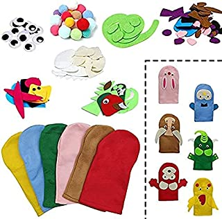Animals Felt Hand Puppet Making Kit for Kids, DIY Sewing Puppets Craft Toy Gifts Party Favor, Make Your Own Puppets Pompom...
