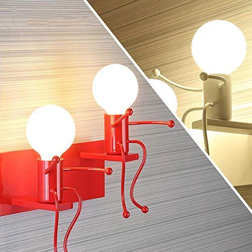 KFDQ Dekorative Kronleuchter, Deckenleuchte, Kinderwandleuchte Modern Schlafzimmer Nachttischlampe, Led-Kreative Villain Aisle Schmiedeeisen Dekorative Wandleuchte, Weiß,Rot