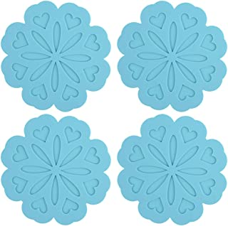 ME.FAN 4 Set Silicone Pot Holders, Trivet Mat, Jar Opener, Spoon Rest and Kitchen Trivet, Non Slip Flexible, Durable, Heat Resistant Dishwasher Available Kitchen Trivet and Pot Pads-Blue