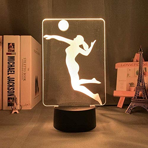 GEZHF 3D Illusion Lamp 16 Colors Changing with Remote Acrylic Led Night Lamp Women s Volleyball for Office Decor Adult Sport Nightlight Sensor Desk Lamp Gift -7 Colors + Touch