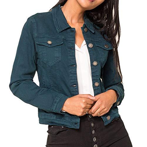 EGOMAXX Damen Jeans Jacke Kurze Übergangsjacke Basic Used Denim Weste, Farben:Petrol, Größe:42