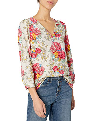 Lucky Brand Women's Long Sleeve V Neck Floral Smocked Peasant Top, Multi, Small