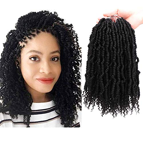 5Packs/Lot Spring Twist Hair 14Inch Jamaica Synthetic Crochet Curly Hair Bomb Twist Braiding Hair for Women(24Strands/Pack, 1B#)