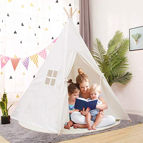 YOLEO Kinderzelt Tipi Spielzelt für Kinder Kinderzimmer Zelt Kinder Geschenke Zelt Indianerzelt - Spielhaus Zelt für Drinnen und Draußen - aus Baumwolle und Leinen (130cm hoch) (Weiß/Rosa) (Weiß)