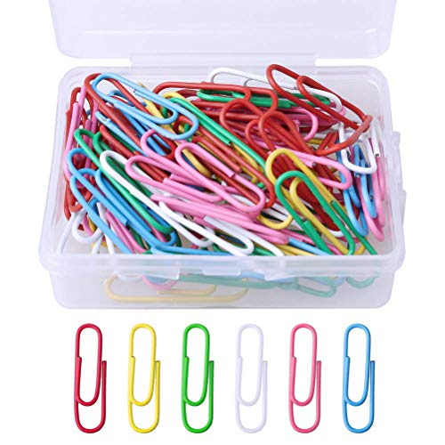 kuou 100 Pcs Coloured Paper Clips, Plastic-Coated Metal Paperclips Paper Clips Clamps with Box for Office School Stationery Document, Small Paper Clips(28mm, Assorted Color)