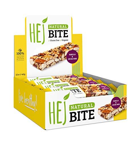 HEJ Natural Bite Vanilla Cocoa Nibs - Bio Nussriegel - Ohne zugesetzten Zucker - Energieriegel - Aus 100% Naturprodukten - Veganer Nussriegel - 12 x 40g