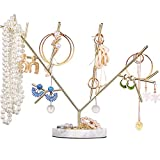 Metal Jewelry Tree Jewelry Holder Tree Necklace Hanging Jewelry Organizer Stand Jewelry Tower Tree for Jewelry Hanging Supplies, Stand Organizer Golden with Marble Base(Style D)