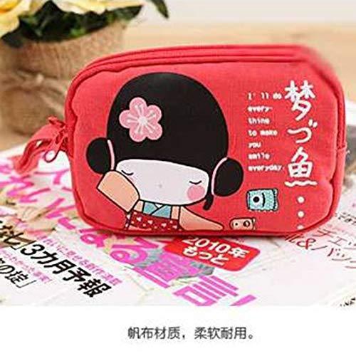 Mode Multifonctionnel Solide Toile Maquillage Sacs Femmes Voyage Cosmétique Paquet Zipper Pouch Purse - Rose