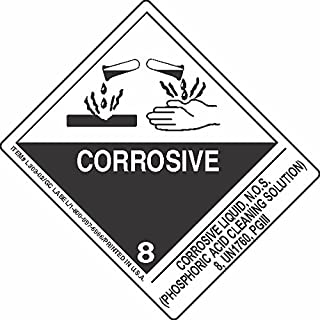 GC Labels-L303P3169, Corrosive Liquid, N.O.S. (Phosphoric Acid Cleaning Solution) 8, UN1760, PGIII, Roll of 500 Labels