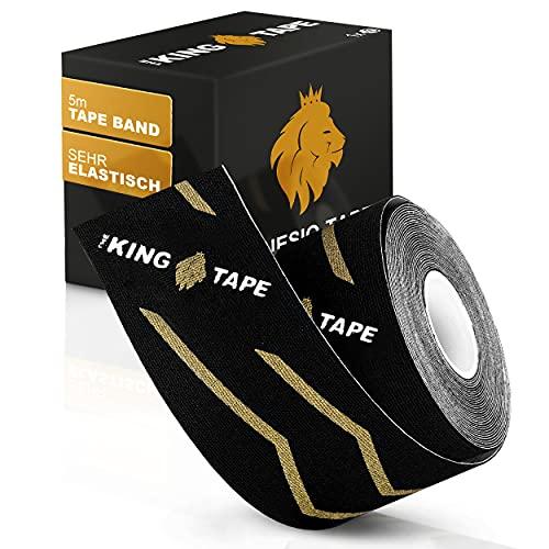 THE KINGTAPE Kinesiotapes (5cmx5m)   starke Beanspruchung   empfindliche Haut   elastisch & wasserfest - Kinesiologie-Tape   Physio-Tape   Boobstape   Tape für Sport (Schwarz)