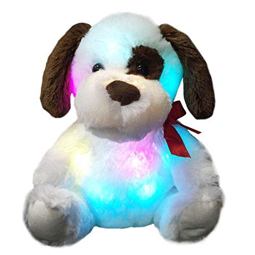 WEWILL Glow Puppy Stuffed Animal Dog Plush Toy LED Nightlight Companion Gift for Kids on Birthday Christmas Halloween Festivals,12-Inch