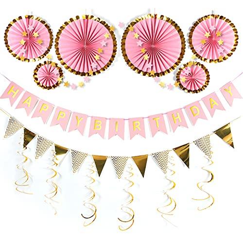 誕生日 飾り付け ガーランド 15点セット ハッピーバースデー HAPPY BIRTHDAY ペーパーフラワー パーティー 飾り お祝い 結婚式 男の子 女の子 デコレーション セット (ピンク)