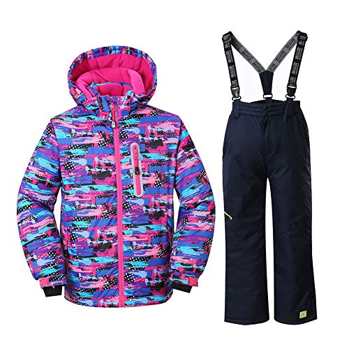 Girls Insulated Ski Jacket + Pants Windproof Waterproof Snowsuit (US 4 - US 16) (US 10 (Height 135CM ), style8)