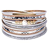 Leather Wrap Bracelets for Women, Multilayer Boho Double Wrap Bracelet Marble Beads Boho Wrap Bracelet Magnetic Clasp Cuff Bracelet Bohemian Jewelry Gift for Women (Style 16)