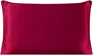 Dehman 100% Pure Mulberry Charmeuse Silky Satin Silk Pillowcase Pillow Case Cover for Hair & Skin 19 Momme (1Piece) (Burgandy, Standard Size,20X26 INCHES)