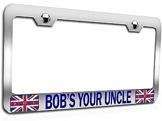 Makoroni - Bob's Your Uncle British England Chrome Auto SUV Steel Metal Heavy Duty Decorative License Plate Frame, License Tag Holder