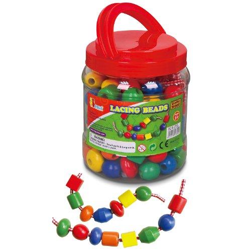 VIGA 58304 Toys - Holzperlen - 90 Perlen, 5 Fäden