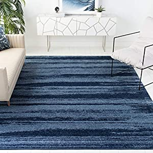 Safavieh Retro Collection RET2693 Modern Abstract Non-Shedding Stain Resistant Living Room Bedroom Area Rug, 8′ x 10′, Light Blue / Blue