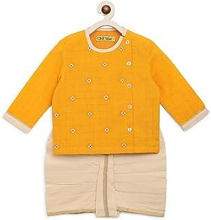 Tiber Taber Baby Boy Embroidered Zari Buta Dhoti Set - Yellow